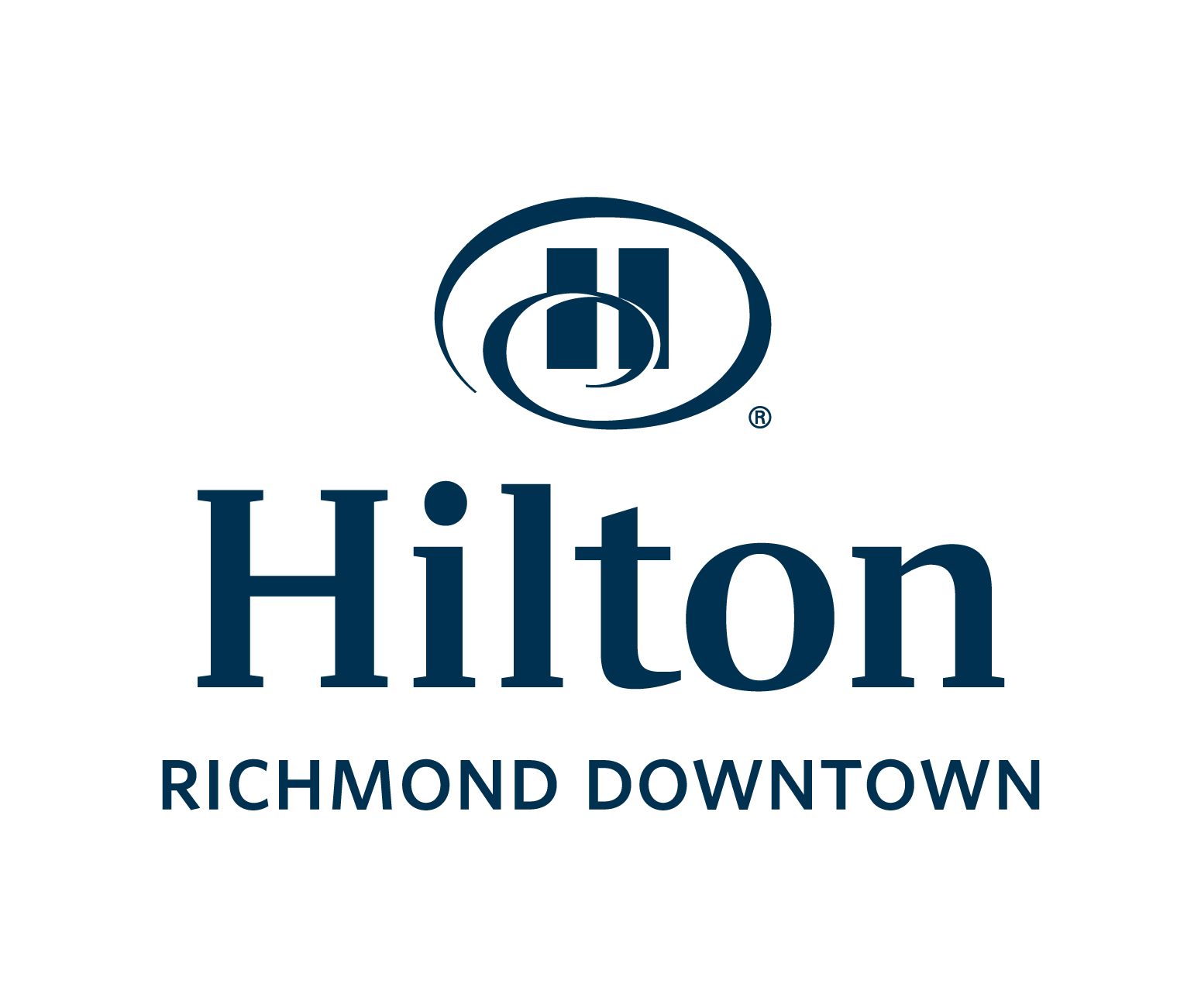 Hilton Richmond Downtown white and blue logo
